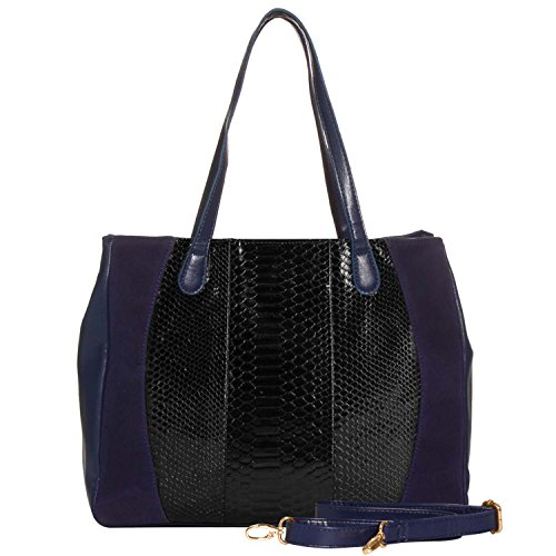 FASH Limited Faux Suede Snake Texture Front Accent Tote Handbag - Navy Blue