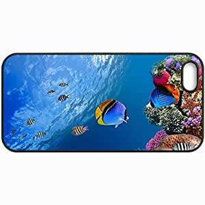 Customized Cellphone Case Back Cover For iPhone 5 5S, Protective Hardshell Case Personalized Tropical Fish Design Design Black