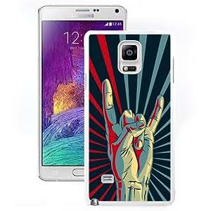 Beautiful Unique Designed Samsung Galaxy Note 4 N910A N910T N910P N910V N910R4 Phone Case With Rock Hand Gesture Sign_White Phone Case