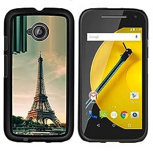 EJOOY---Cubierta de la caja de protección para la piel dura ** Motorola Moto E2 E2nd Gen ** --Arquitectura torre Eiffel de París del día