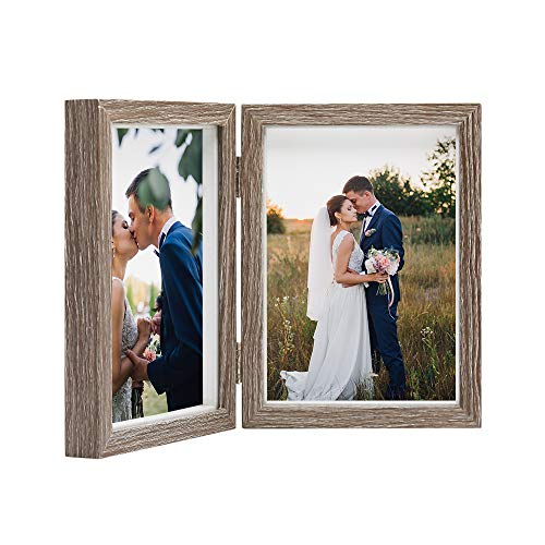 - Afuly Double Picture Frame 5x7 Vertical Rustic Wooden Hinged Photo Frames Collage Shadow Box for Tabletop Wedding Gifts