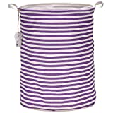 Sea Team 19.7'' Large Sized Waterproof Coating Ramie Cotton Fabric Folding Laundry Hamper Bucket Cylindric Burlap Canvas Storage Basket with Stylish Purple & White Stripe Design