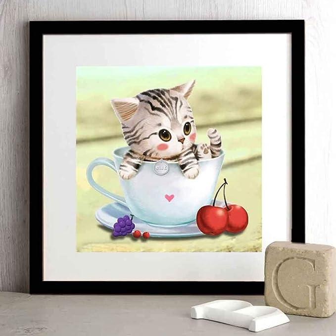 myonly DIY 5D pintura de diamantes de imitaci/ón decoraci/ón de pared 40 30 cm decoraci/ón para el hogar bordado dise/ño de gato
