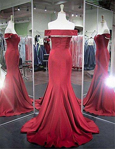 Festkleider Brautjungfernkleider Abendkleider Meerjungfrau Burgundy Off Shoulder BallKleider Damen Lang wnCq0x7