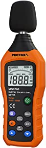 PROTMEX Sound level tester,Dual Mode Noise Meters Decibel Tester 30~130dB Measurer with Fast/Slow Selection, Backlight, Max and Data Hold Function MS6708A/C