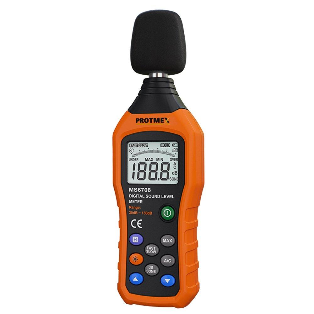 protmex decibel meter sound level reader, ms6708 portable digitalprotmex decibel meter sound level reader, ms6708 portable digital sound level meter reader, measurement range 30 130 dba, accuracy 1 5db, noise meter with