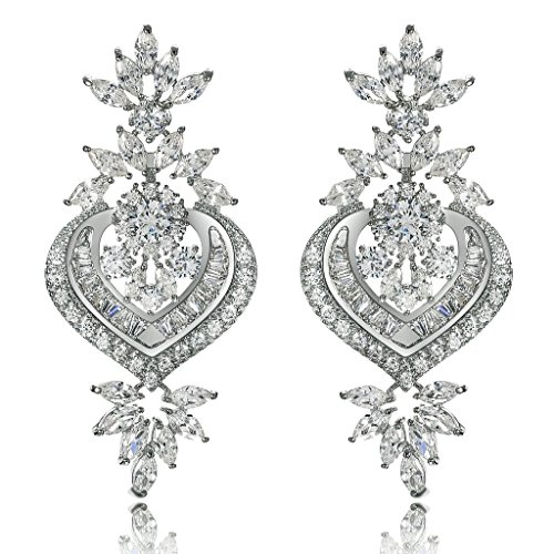 Gnzoe Womens Stud Earring Silver Plated Crystal CZ Heart-Shaped Leaves Silver 2.3x5CM
