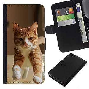 Orange Cat American British Shorthair - la tarjeta de Crédito Slots PU Funda de cuero Monedero caso cubierta de piel HTC DESIRE 816