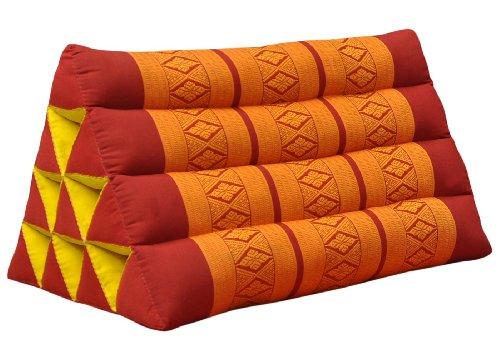 Thai triangular cushion, red/orange, relaxation, beach, kapok, made in Thailand. (81000) by Wilai GmbH