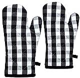 Raksha - 100% Cotton Oven Gloves-Pack of 2-(White and Black)