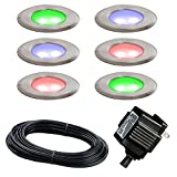 Paradise Stainless Steel Multi Color LED Deck Light Kit (6-Pack)