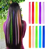 10pcs Colored Clip in Hair Extensions 22' Straight Fashion Hairpieces for Party Highlights Multi-Color
