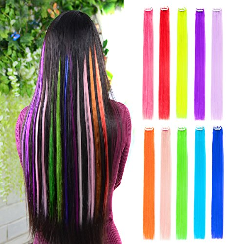 "10pcs Colored Clip in Hair Extensions 22"" Straight Fashion Hairpieces for Party Highlights Multi-Color"
