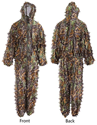 (Annay Ghillie Suits Camo Suit 3D Maple Leaves Camouflage Clothing Woodland Army Clothes Sniper Costume Jungle Jacket & Pants for Hunting Shooting Wildlife Photography Airsoft Military Game Medium)