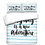 3Pcs Duvet Cover Set,Adventure,Every Day is a New Adventure Quote Inspirational Things About Life Artwork,Baby Blue Black,Best Bedding Gifts for Family/Friends