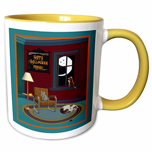 3dRose Beverly Turner Halloween Design - Ghost, Spider, and Cats in a Room, Happy Halloween Friend - 11oz Two-Tone Yellow Mug (Happy Halloween Friends Pics)