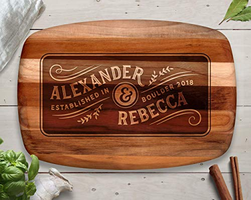 Blended Family, Cutting Board, Teak, First Name, Different Last Names, Family Established, Family Name Sign, Family Established Sign, Wedding Gift, Personalized Wedding Gifts, Anniversary Gift