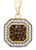 10K Yellow Gold Channel Set Chocolate Brown & White Princess Square Halo Diamond Pendant Charm (1/3 cttw.)