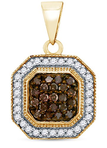 nel Set Chocolate Brown & White Princess Square Halo Diamond Pendant Charm (1/3 cttw.) (Gold Square Charm)