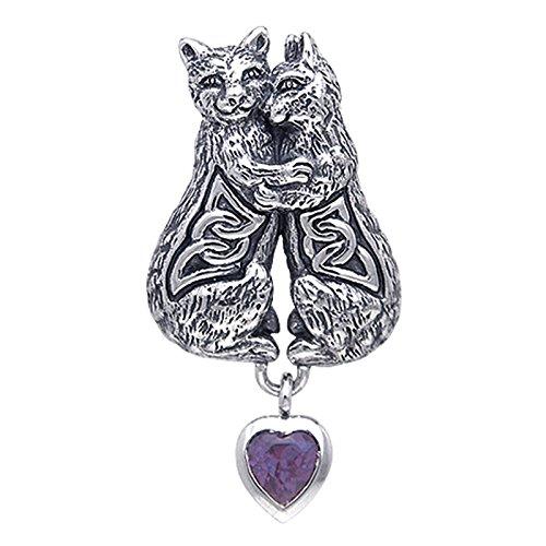 Cuddling Kittens Cat Celtic Knot Sterling Silver Pendant Slide with Genuine Amethyst Heart Dangle