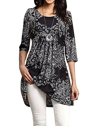 Popilover Womens Casaul 3/4 Sleeve Floral Tunic Pleated Tops