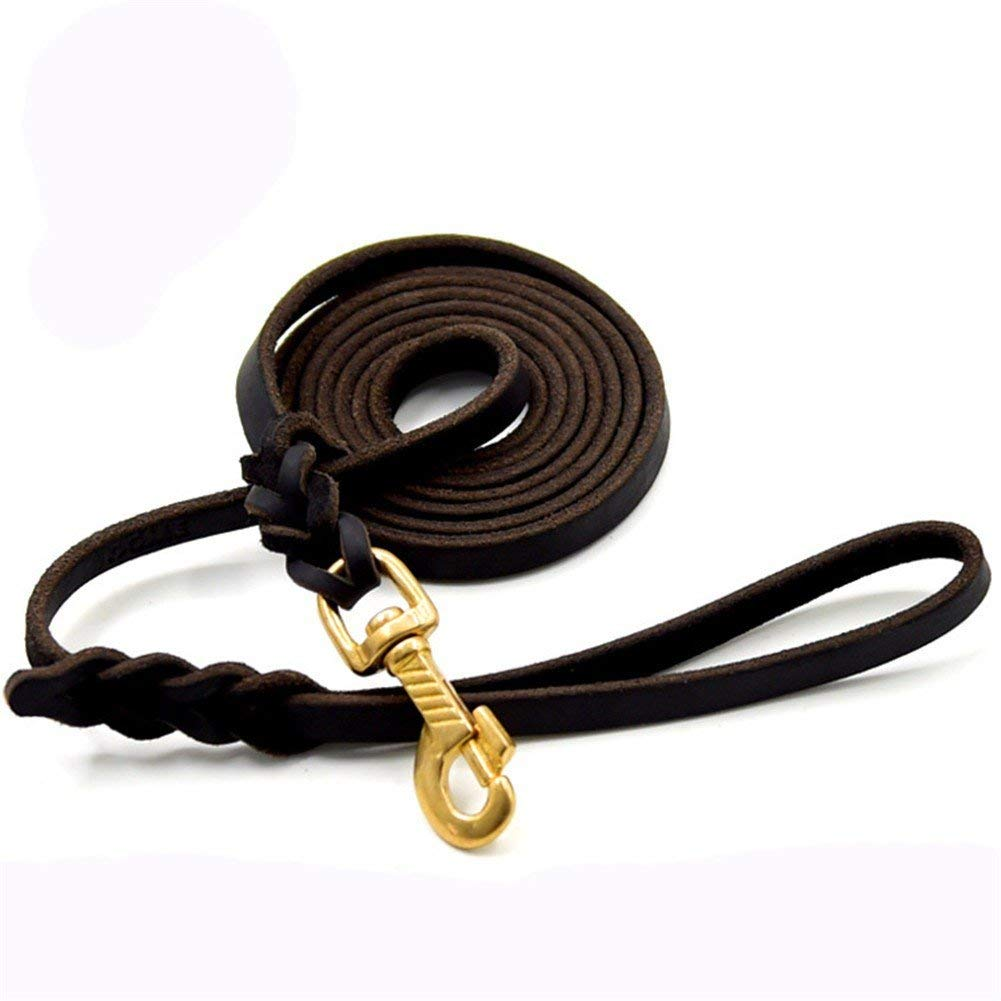 Brown 1.2200cm HSDDA Dog Outdoor Leash Dog Lead pet leath traction rope comfortable and durable traction rope For large and medium dog,Black,1.2  200cm Walking Leash (color   Brown 1.2  200cm)