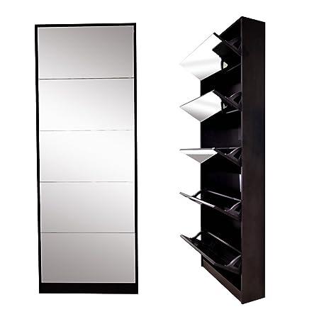 Fine Organizedlife Brown Mirror Shoe Cabinet Wooden Storage Download Free Architecture Designs Grimeyleaguecom