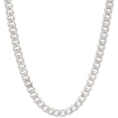 a65ce723493 4mm Mens Solid .925 Sterling Silver Cuban Link Curb Chain Necklace ...