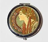 Alphonse Mucha Compact Mirror Art Nouveau Edwardian Cameo Bohemian Gypsy Boho Make Up Pocket Mirror for Cosmetics