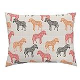 Roostery Zebra Africa Orange Coral Pink Linen Euro Knife Edge Pillow Sham Canvas Zebras by Mrshervi 100% Cotton Sateen
