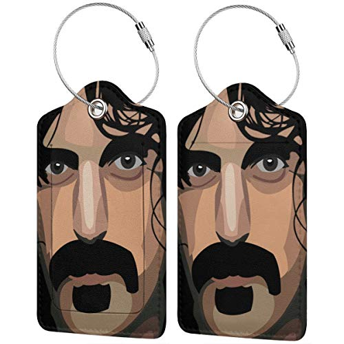 MHOONOW Frank Zappa Cartoon Leather Luggage Tag Fashion Funny Travel Accessory Luggage ID Tag Name Tags For Luggage Women Men Kids Christmas Eve Gifts (The Best Of Frank Zappa 2019)