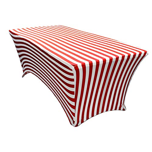 Your Chair Covers - Stretch Spandex 6 ft Rectangular Table Cover - Red/White Striped, 72