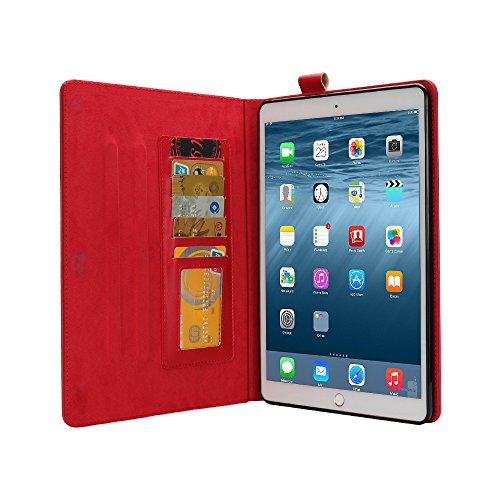 Price comparison product image Jennyfly 2017 New iPad 9.7 inch Case,  iPad Pro 9.7 PU Leather Smart Cover,  Auto Sleep / Wake Function Build-in Pen Holder Card Slots Apple 9.7 inch iPad Air / Air 2 / Pro 9.7 / 2017 / 2018 New iPad -Red