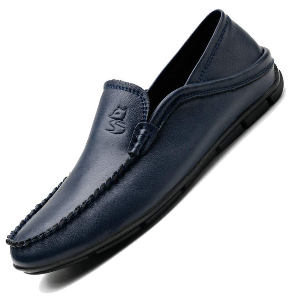 Qiusa Herren Slip on Driving Schuhes Rutschfeste Echtes Leder Weiche Sohle Rutschfeste Schuhes Casual Atmungs Loafers (Farbe : Rot, Größe : EU 39) Blau f4b095