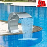 SKB Family Garden Waterfall Pool Fountain Stainless Steel 17.7'' x 11.8'' x 23.6'' Outdoor Ground Pond Water Pump