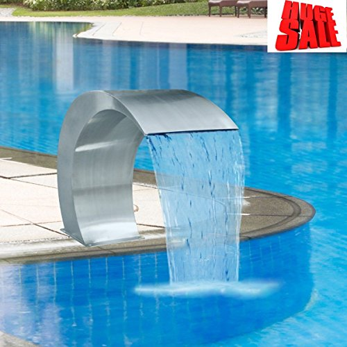 SKB Family Garden Waterfall Pool Fountain Stainless Steel 17.7'' x 11.8'' x 23.6'' Outdoor Ground Pond Water Pump by VSR Fountains
