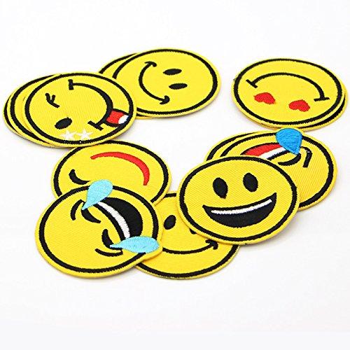 Lezed Parche Emoji Parches de Bordado de Sonrisa DIY Ropa Parch Smiley Pegatinas Pa/ño Tema de Verano Para la Decoraci/ón Camisetas Jeans Ropa Bolsos Zapatos 26 Piezas