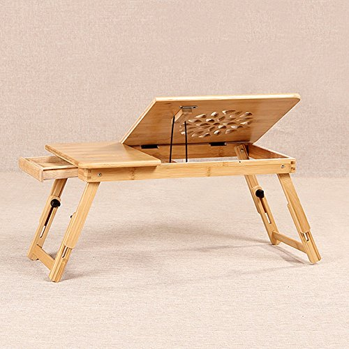 Tables Adjustable Laptop Stand Bed Table, Foldable Sofa Breakfast Tray, Quality Notebook Stand, USB Fan Foldable Breakfast Serving Bed Tray ,play Games On Bed Table With Drawer ( Size : B ) by PM Folding tables