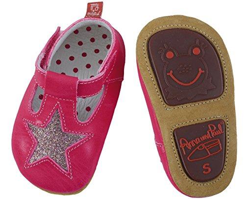 Anna und Paul Krabbelschuhe Aus Leder - starshine - Pink/Glitzer - mit Gummisohle