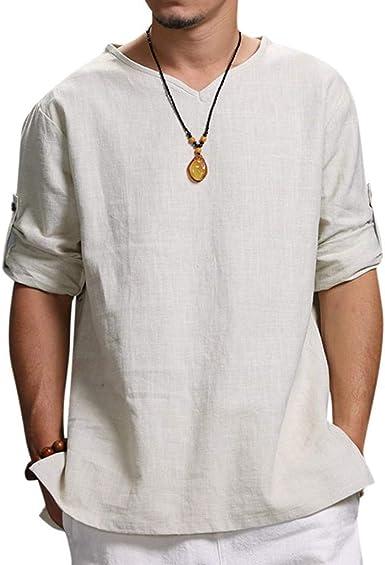 Camisas Hombre Lino Verano Y Otono Camisetas Manga Larga Color Solido Escote V Tops Shirt Tallas Grandes Polos Modernas Sudadera Deporte Talla Grande M 4xl Amazon Es Ropa Y Accesorios