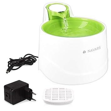Navaris Fuente de Agua para Gatos y Perros - Bebedero de 2 litros con Filtro y Bomba Sumergible - Dispensador de Agua con Flujo Ajustable Color Verde: ...