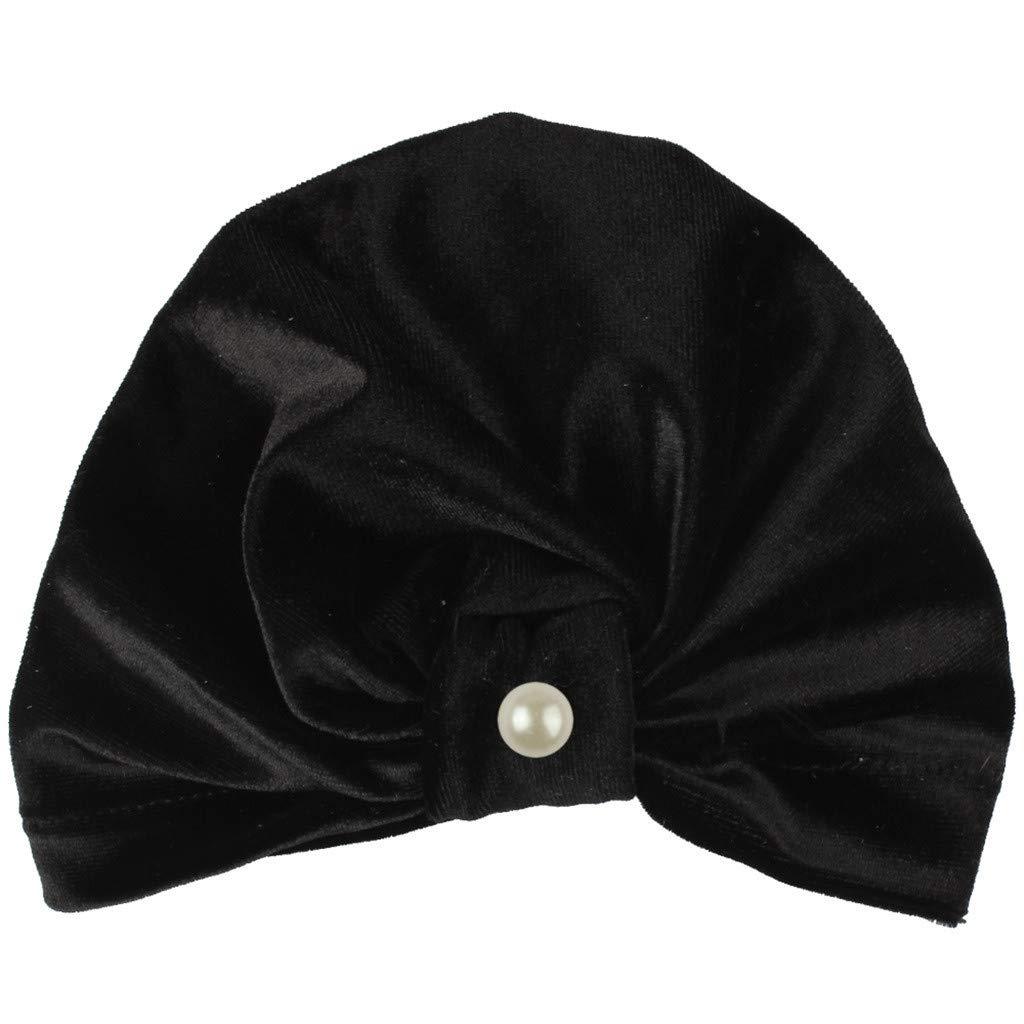 MALLOOM Newborn Baby Boy Girl Pearls Pleuche Knotted Hat Beanie Cap Headwear Black
