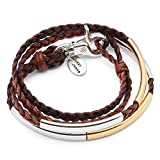 Mini Addison Braided Leather Wrap Bracelet with Goldplate and Silverplate Crescents in Natural Antique Brown Leather (Small)