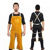 welding split leg apron - 43-Inch By 25-Inch Yellow Cowhide Split Leather Welding Bib Apron With Split Leg & Front Pocket