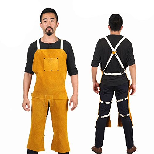 Holulo 43-Inch By 25-Inch Cowhide Split Leather Work Overall Apron Welding Bib Apron Heat Resistant Suit With Split Leg and Front Pocket Yellow