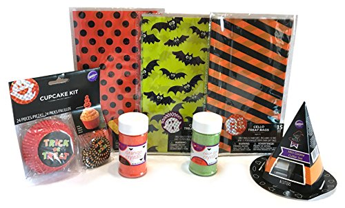 Halloween Baking and Treat Kits! Halloween Cupcake Mix, Halloween Cookie Cutters, Halloween Treat Bags - Halloween Party Supplies! (Cupcake & Cookie Decorations - Trick or Treat)