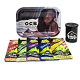 Bundle - 3 Items OCB Rolling Tray Travel Size with (5) Kingpin Natural Hemp Wraps (Girl Tray)