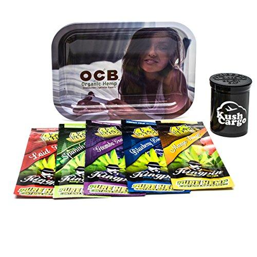 Bundle - 3 Items OCB Rolling Tray Travel Size with (5) Kingpin Natural Hemp Wraps (Girl Tray) by KC, OCB