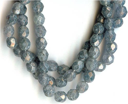 6mm Fire Polish Czech Glass Beads -Luster Stone Grey Faceted ()