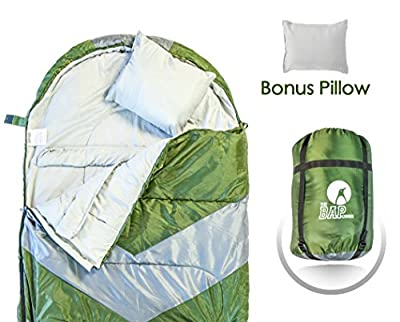 Sleeping Bag Outdoor Camping Lightweight - Bonus Pillow - For Men & Women 210T Ripstop Compact Envelope Sleep Bag - Ideal For All Year Long–Available In Two Colors and Different Thickness